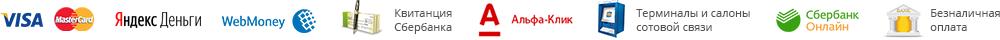 банковские карты, Яндекс.Деньги, WebMoney, Квитанция Сбербанк, Терминалы и салоны сотовой связи, альфаклик, сбербанконлайн, безналичная оплата