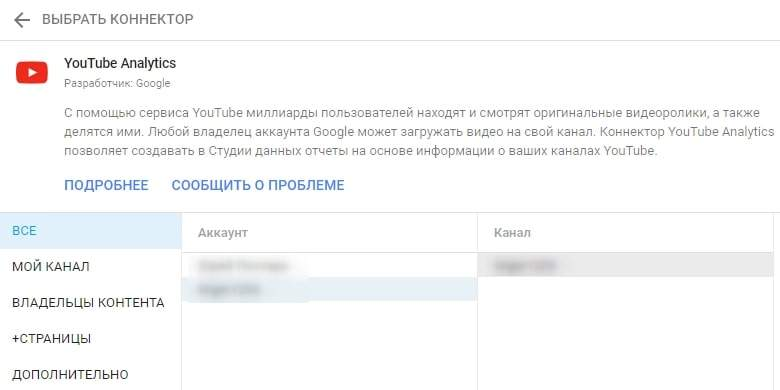 Выбор канала в Google Data Studio для бизнеса