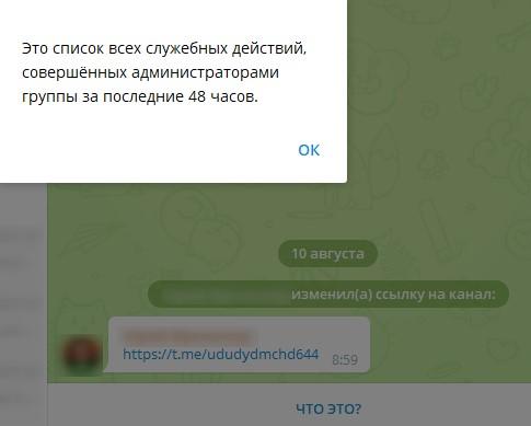 Недавние действия на канале в Телеграм